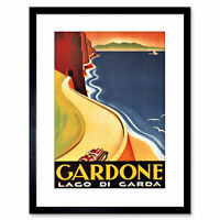 Gardone Lake Garda Vintage Framed Art Print Picture Mount Photo 9x7 Inch