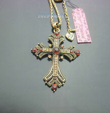 D689  Betsey Johnson Vintage  Crystal Antique Bronze Cross Pendant Necklace