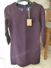 JOULES MARIE PLUM NAVY BLUE RIBBED JERSEY  TUNIC  DRESS SZ UK 8