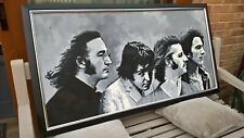 Beatles fab four original acrylic painting in nice frame awsome