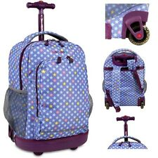 Purple Backpack Girls Rolling Book-Bag Middle School Stars College Wheeled Carry