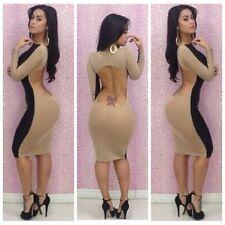 Sexy Size Large Tan/Black Open Back Bodycon Club Wear Party Dress!