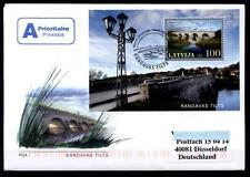 Brücke über die Abava, Kandava. FDC-Brief nach BRD. Block. Lettland 2008