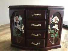 Vintage Faux Wooden 2 Door Wardrobe Style Musical Jewellery Box Excellent Condit
