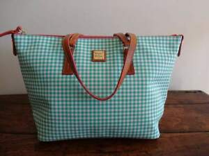 DOONEY & BOURKE Large SEA FOAM GREEN White GINGHAM Check ZIP TOP SHOPPER TOTE