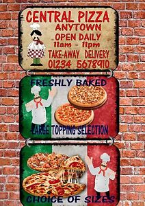Personalised Cafe Pizza Restaurant Sign Personalised Wall Plaque Cafe Sign Pizza