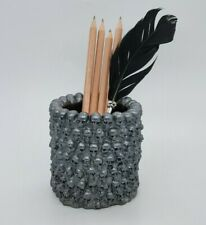 SILVER GREY color Skull Pen Pencil  Makeup Brush Holder Organizer Goth Halloween