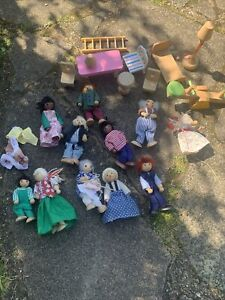wooden dolls house dolls and accessories bundle 11 characters + furniture