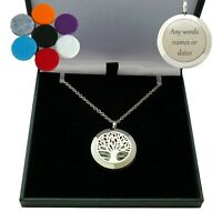 Engraved Tree of Life Locket Necklace, Aromatherapy, 18th, 21st, 40th Birthday