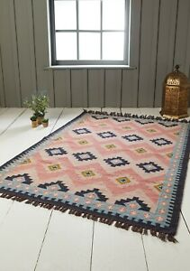 Wool Cotton Pink Blue Pastel Geometric Hand Loomed Kilim Rug 75 x 135 cm