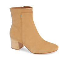 New Toms Evie Ankle Boot Bootie Classic Wooden Block Heel Tan Leather Women's 9