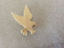 Vintage Intricately Carved Faux Bone Ivory Eagle Landing Pin