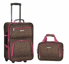 Rockland Rolling Luggage Set Bag 2 Pink Leopard Suitcase Expandable Carry Travel