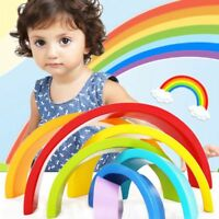 Colorido Bloques De Madera Juguetes Creativos Arco Iris Bloques de Montaje M2B3