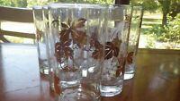 Vintage Grape Leaf Vine Tumblers glasses Gold White 8 13 oz flat bottom glasses