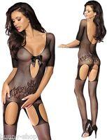 Heißer Catsuit Body Stocking geblümt MIT Schleife + Strapsen Größe One Size S-M