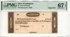 1810 $2 EZRA GRISWOLD OBSOLETE REMAINDER WORTHINGTON OHIO PMG SUPERB GEM 67 EPQ