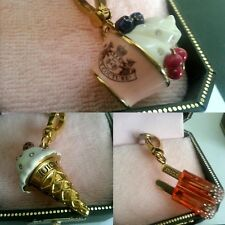 NEW IN BOX NWT Juicy Couture SET 3 Popsicle Ice Cream Cone Dish Charm Charms Tag