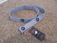 """Blue & White Striped Piping Prints Nantucket Silver D Ring Belt Small 1.5"""" x 40"""""""