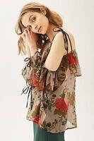 Topshop One Sleeve Floral Print Chiffon Top Blouse UK 10 EURO 38 US 6 BNWT