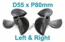 1Set D55mmxP80mm 3-Blades Left&Right RC Boat Propellers, 3/16 Shaft 038-06303-04