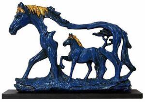 Vastu Running Horse in Horse Antique Blue and Gold Finish