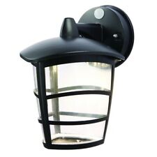 Modern IP44 Outdoor PIR Black Wall Light with Clear Plastic Diffuser