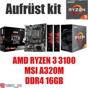 AMD 🆁🆈🆉🅴🅽 3 3100 ● MSI A320 Mainboard ● 16GB RAM ● Ryzen PC Bundle Kit