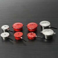 Puppenhaus Miniatur 4 Stücke Metall Pan Suppe Topf Geschirr b Farben H0W2 1 P5D8