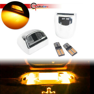 2pcs Chrome Silver License Plate Housing w/Amber LED Bulbs For Cadillac Escalade