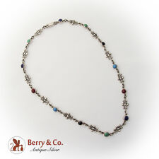Carsi Colorful Ornate Link Necklace Semiprecious Colored Stones Sterling Silver