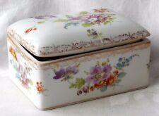 C19TH Dresda hand painted Hinged PORTAGIOIE box con varie fiori a / f