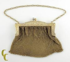 Vintage Gold-Tone Sterling Silver Mesh Chain Mail Engraved Clutch/Purse