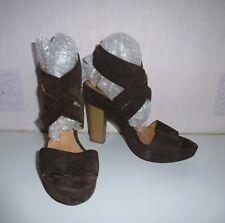Jane Shilton Brown Suede Strappy Platform Ankle Sandels UK 6 / 39