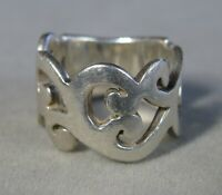 Vintage Sterling Silver Wide Open Scroll Work Band Ring Size 8 #J2587