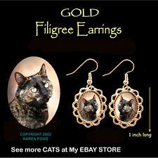 Tortiseshell Shorthair Cat Tortie - Gold Filigree Earrings Jewelry