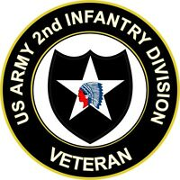 "Army 2nd Infantry Division Veteran 3.8"" Sticker 'Officially Licensed'"