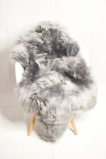 Genuine Single Sheepskin Rug - Silver  Grey Color Super Soft Long Wool