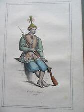 GRAVURE ORIGINALE COULEURS COSTUME 1860 SOLDAT COCHINCHINE INDOCHINE