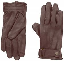 NWT $50 MENS TOUCHPOINT CELL SCREEN LEATHER GLOVES w/ WRIST BELTING- BROWN- LG