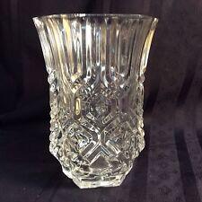 "Vintage 6-sided pressed glass flower vase; decorative pattern      (""ZZ""  S 3)"