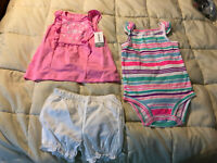 NEW BABY CARTER'S DIAPER COVER SET SHIRT & PANTS & SLIPPERS SIZE 24M LOT SET