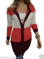 Plus size 8-22 UK Ladies womans soft touch long striped winter cardigan