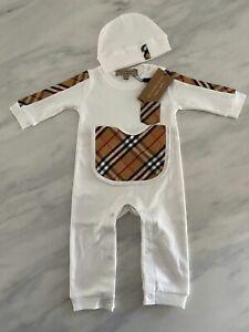Burberry White check print pocket romper Infant