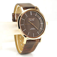 Omax Classic Slim Rose Gold Seiko Movt Brown Leather Gents Dress Watch SX13R55I