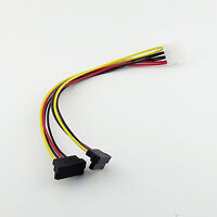 IDE Male 4Pin Molex to 2x SATA Splitter Female 90 Degree HDD Power Adapter Cable