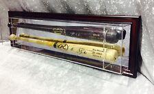 Premium Wall Mount 2 Baseball Bat Display Case, Mahogany frame,mirror background