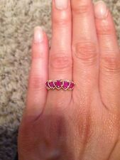 14K YELLOW GOLD CREATED RUBY 5 STONE GRADUATED HEART RING SIZE 5