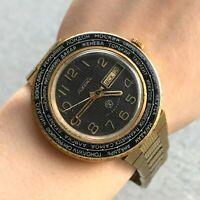 Men Watch World Time RAKETA Cities Vintage Luxury Gold Plated USSR Date Day 18k