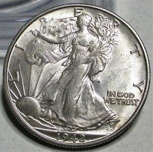 1942-D WALKING LIBERTY HALF DOLLAR 50c **CH/AU** RARE US COIN.